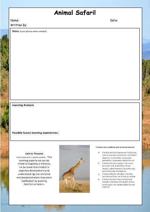 Editable EYLF Learning Story Templates Screenshot